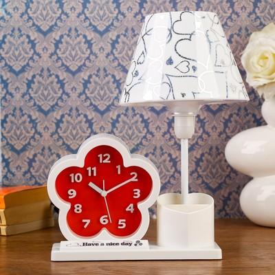"""Часы будильник """"Цветы"""" с светильником, карандашницей, 30х25х16.5 см , микс"""