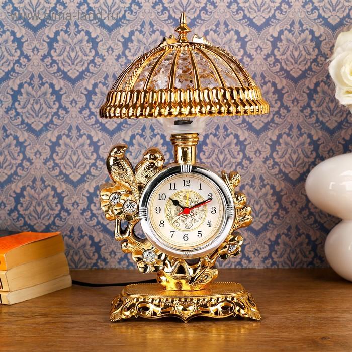 """Часы-светильник """"Золотые птички"""", золотистые, от сети,30*17*17 см"""