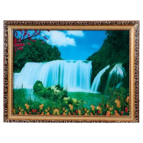 Световая картина 'Водопад и цветы' 60*50 см Ош