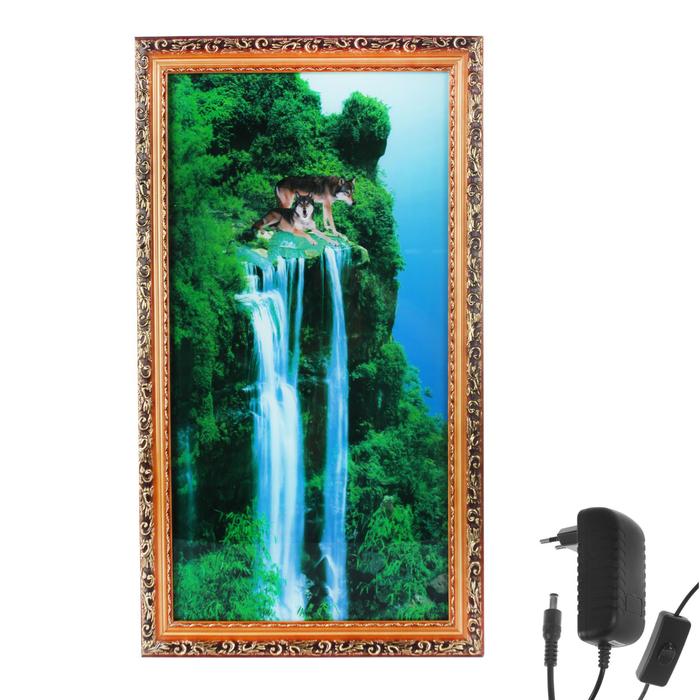 "Световая картина ""На краю скалы"" со звуком пения птиц и водопада"