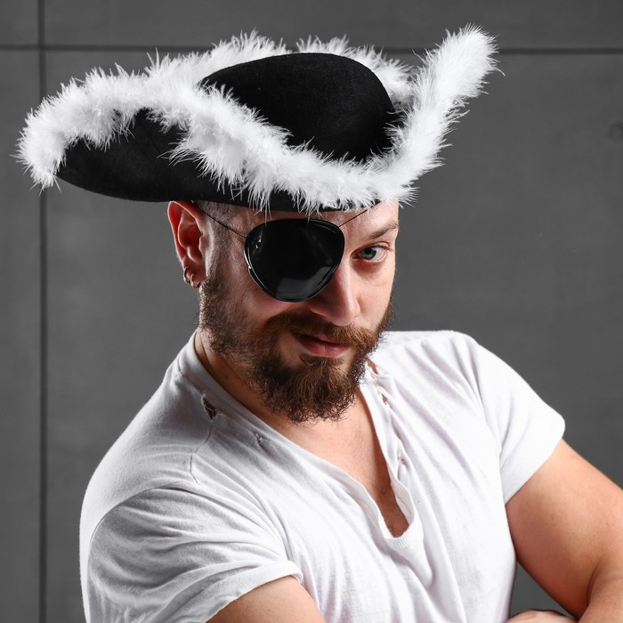"Карнавальная шляпа ""Треуголка"", белый пух, р-р 57-58"