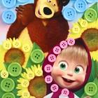 """Аппликация пуговками """"Маша и подсолнухи"""" + клейкая лента,  Маша и Медведь - фото 1689693"""