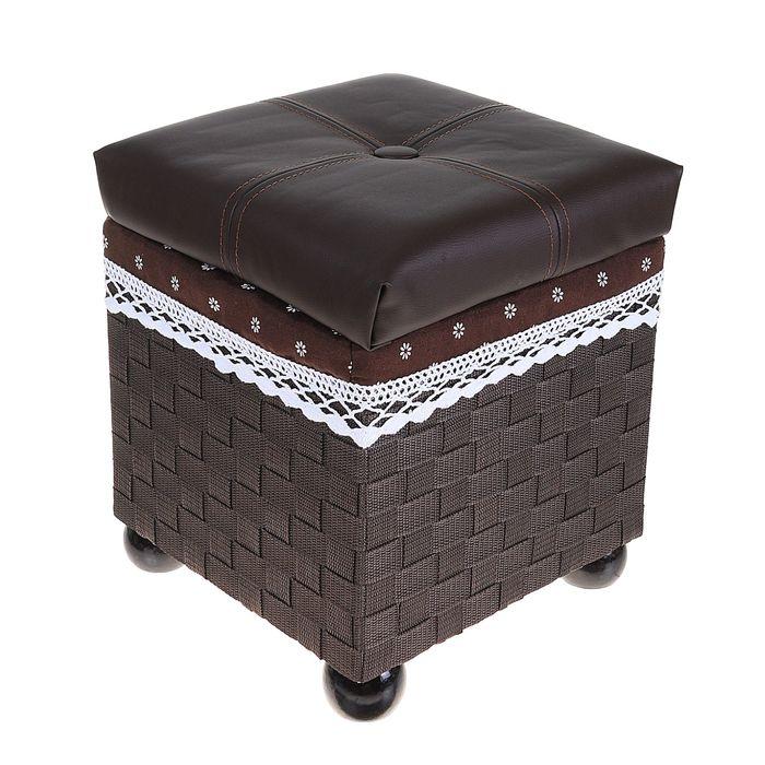 """Короб для хранения (пуф) складной """"Глория"""", малый, цвет тёмно-коричневый"""
