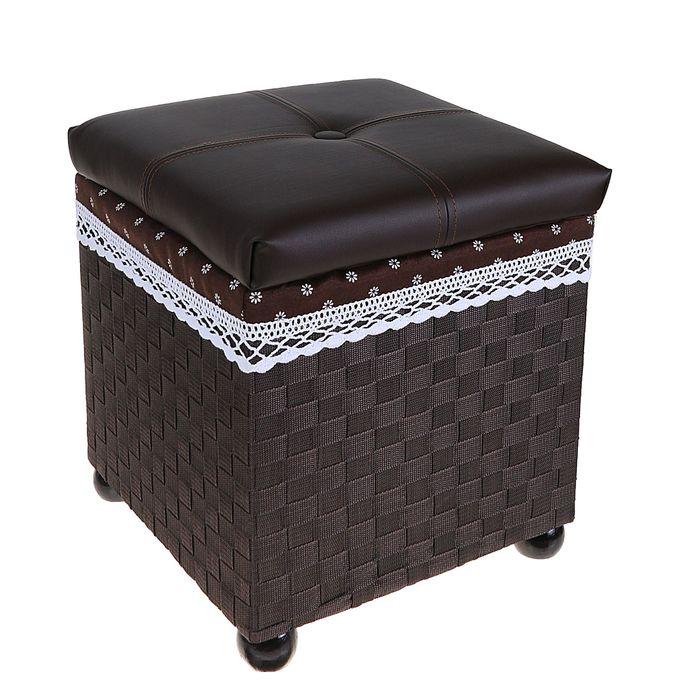 """Короб для хранения (пуф) складной """"Глория"""", большой, цвет тёмно-коричневый"""