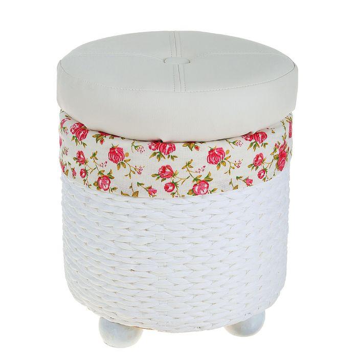 """Короб для хранения (пуф) складной """"Розы"""", малый, цвет белый"""