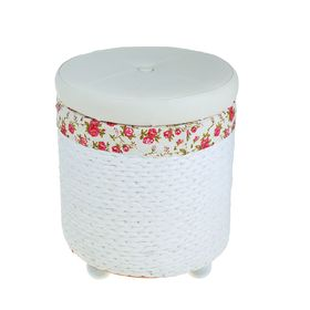 Короб для хранения (пуф) складной «Розы», круглый, 41×41×47 см, цвет белый