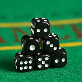Кости игральные 1.2х1.2 см, черные, белые точки, фасовка 100 шт