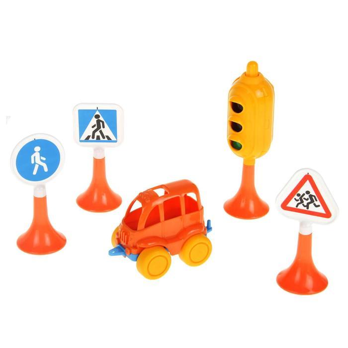 """Набор """"Дорожные знаки"""" №2 светофор, 3 знака, машинка"""