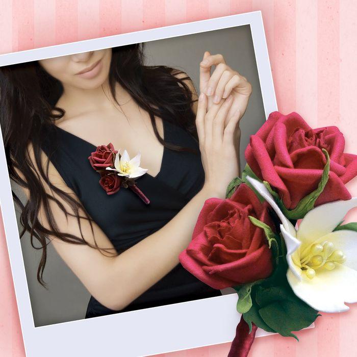 """Бутоньерка из фоамирана своими руками """"Красная роза"""" - фото 404766"""