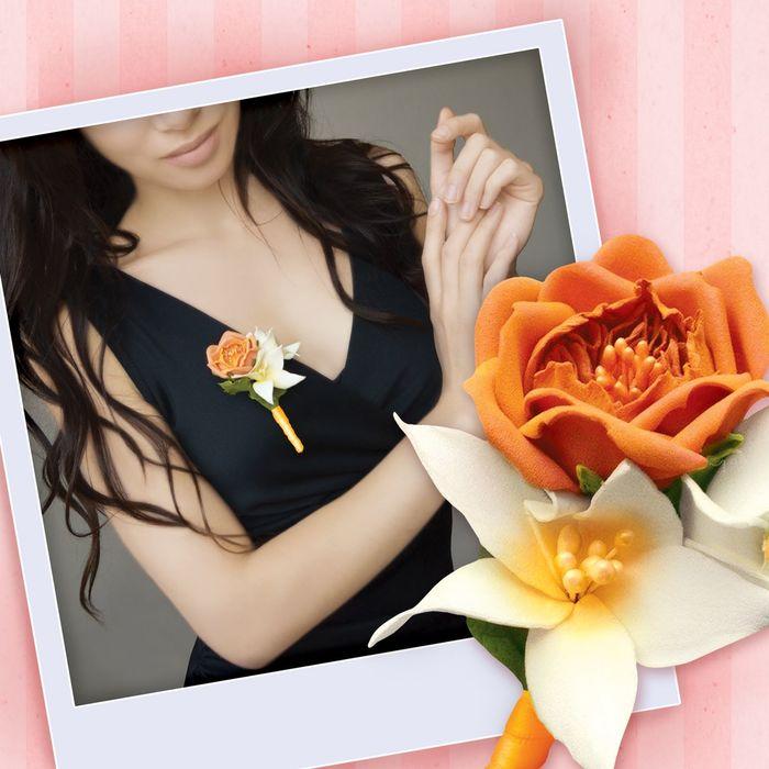 """Бутоньерка из фоамирана своими руками """"Оранжевая роза"""" - фото 698640"""
