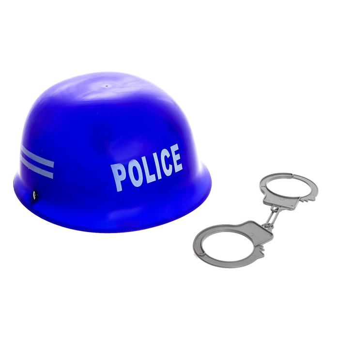 Набор полицейского «Каска и наручники», 2 предмета - фото 995425