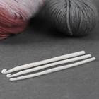 Набор крючков для вязания, d = 4/5/6 мм, 14 см, 3 шт, цвет белый