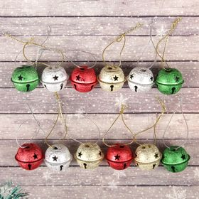 Bells, set of 12 PCs., 1 PC. size 3×3 cm, color silver, gold, red, green