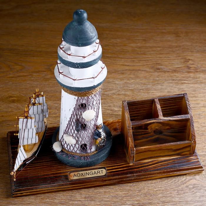 Набор настольный «Маяк»: подставка для ручек, визитница, 14 х 30 х 27 см