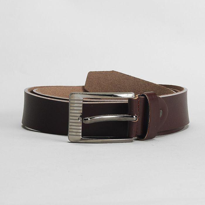 Ремень мужской, гладкий, пряжка тёмный металл, ширина - 3,6 см, цвет коричневый