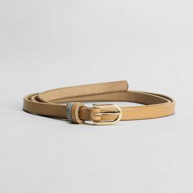 Women's belt smooth buckle gold, width - 0.9 cm, color beige