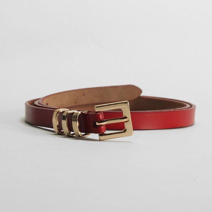 Ремень женский, гладкий, пряжка и хомут золото, ширина - 1,5 см, цвет красный