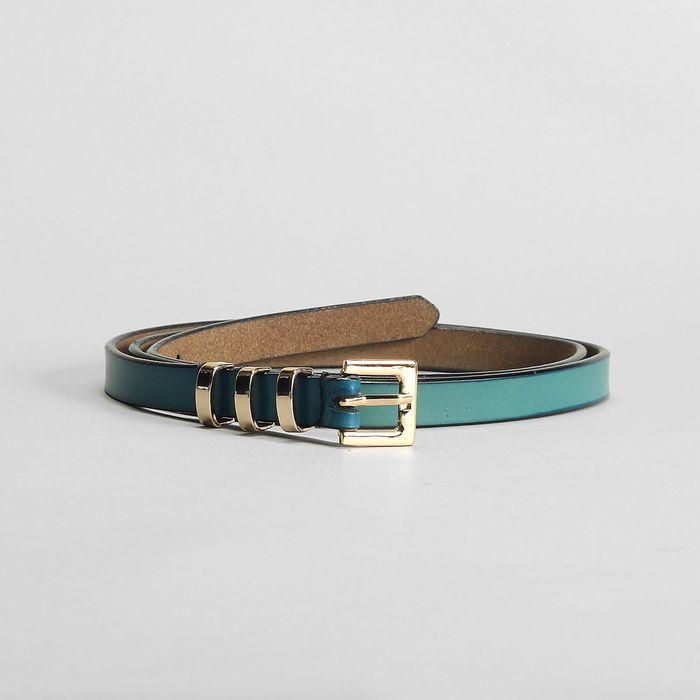Ремень женский, гладкий, пряжка и хомут золото, ширина - 1,5 см, цвет синий