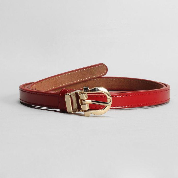 Ремень женский, 2 строчки, пряжка и хомут золото, ширина - 1,5 см, цвет красный