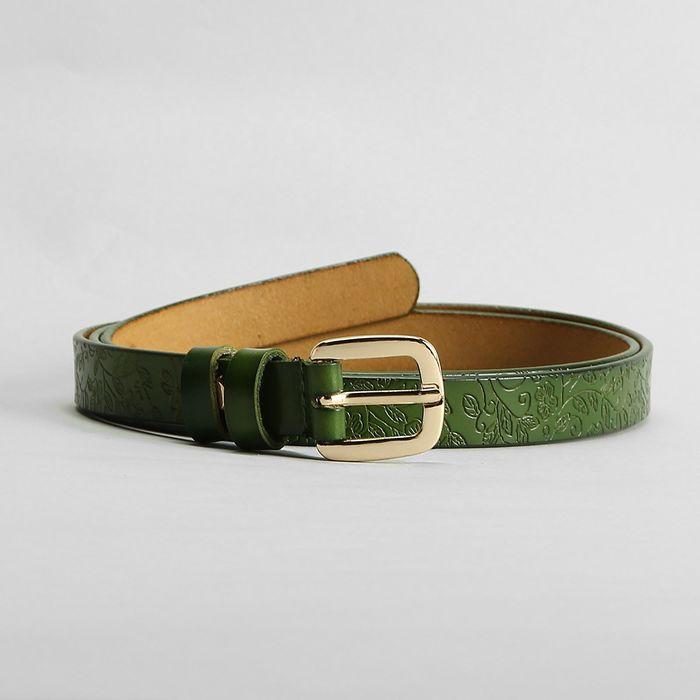 Ремень, пряжка золото, ширина - 1,8 см, цвет зелёный