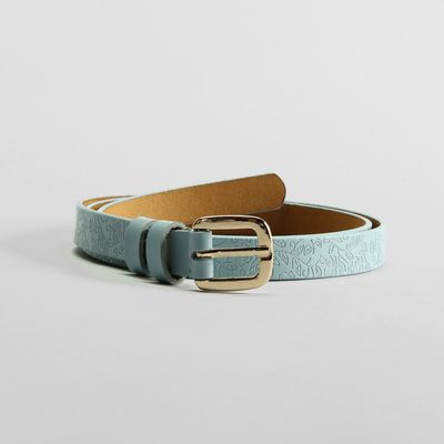 Women's belt, gold buckle, width - 1.8 cm, color blue