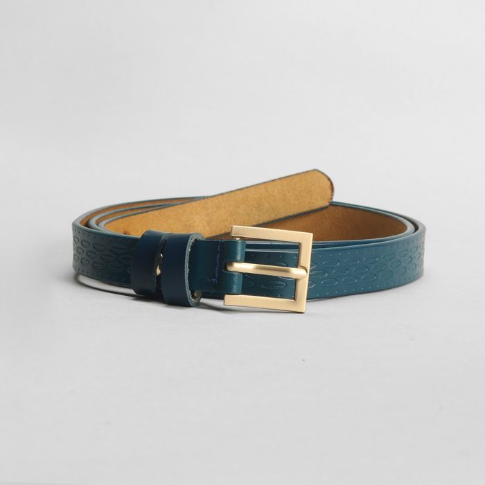 Ремень, пряжка матовое золото, ширина - 1,8 см, цвет синий