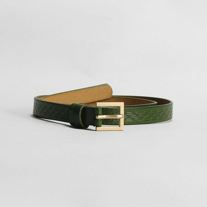 Ремень, пряжка матовое золото, ширина - 1,8 см, цвет зелёный