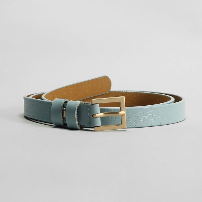 Ремень, пряжка матовое золото, ширина - 1,8 см, цвет голубой