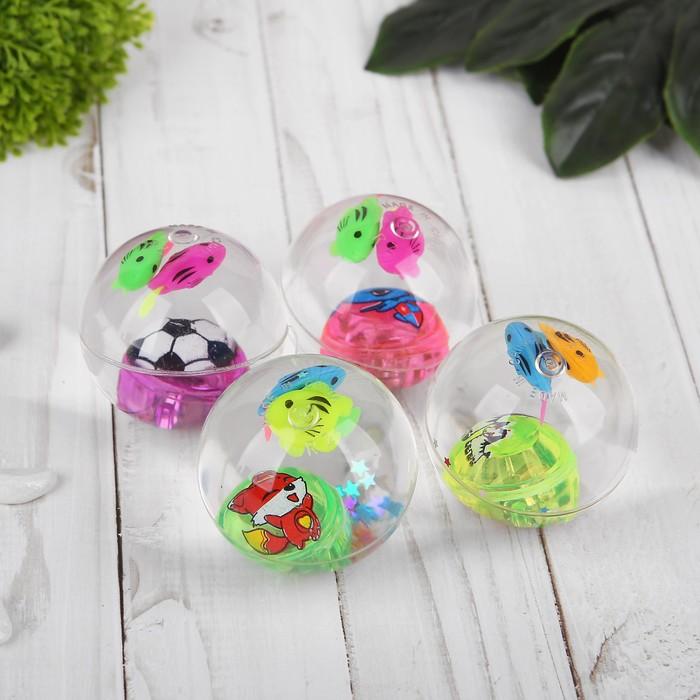 Мяч световой «Рыбки», с водой, 5,5 см, цвета МИКС