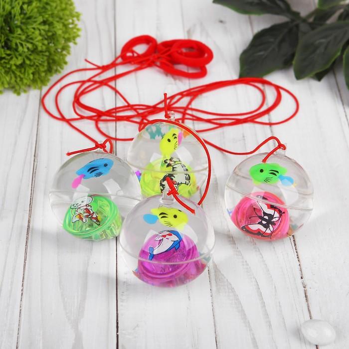 Мяч световой «Рыбка», с водой, на резинке, 5,5 см, цвета МИКС
