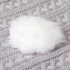 Помпон из натурального меха зайца, размер 1 шт 8 см , цвет белый