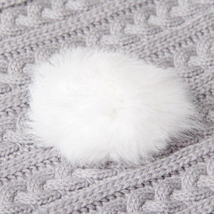 Помпон из натурального меха зайца, размер 1 шт: 8 см, цвет белый