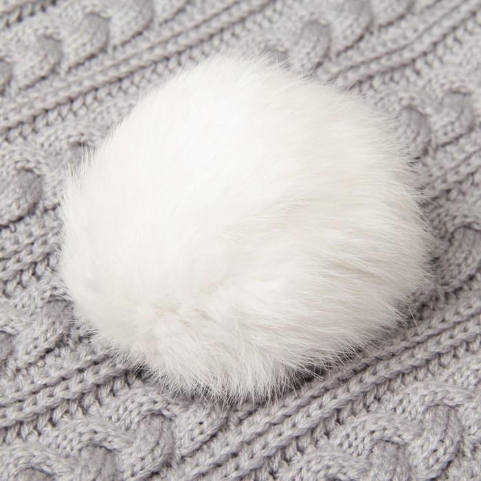 Помпон из натурального меха зайца, размер 1 шт: 9 см, цвет белый