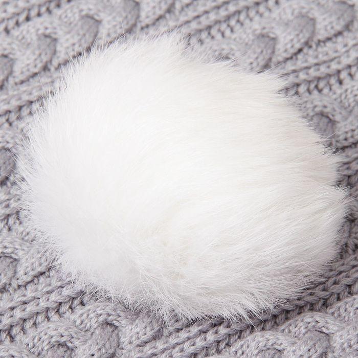 Помпон из натурального меха зайца, размер 1 шт: 10 см, цвет белый