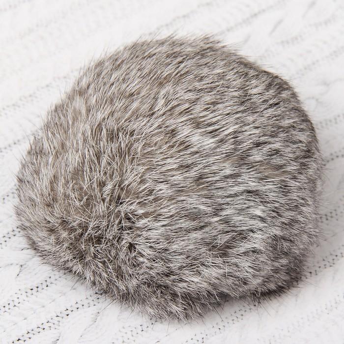 Помпон из натурального меха зайца, размер 1 шт: 10 см, цвет серый