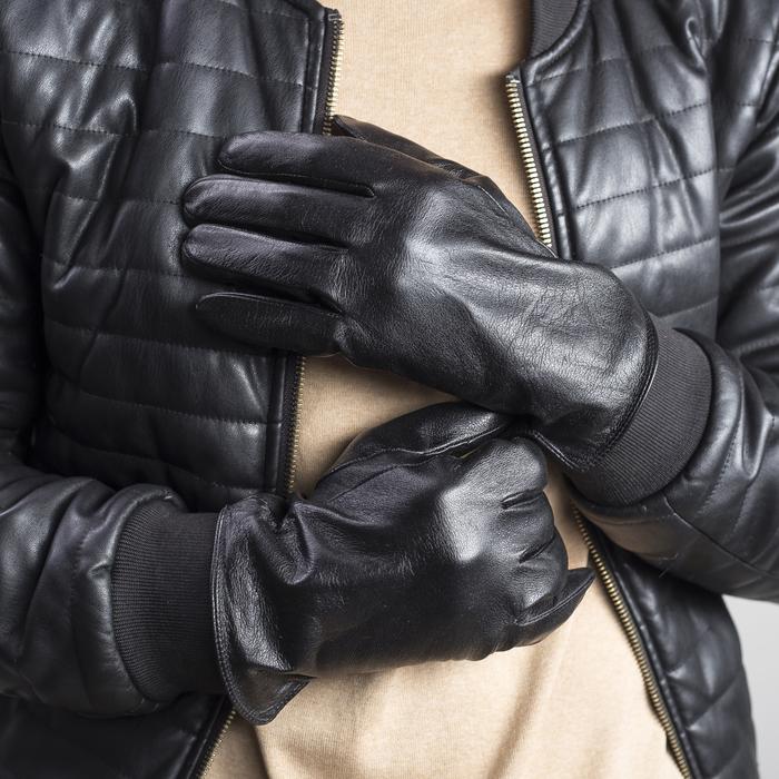 Перчатки мужские, размер 10, с утеплителем, цвет чёрный