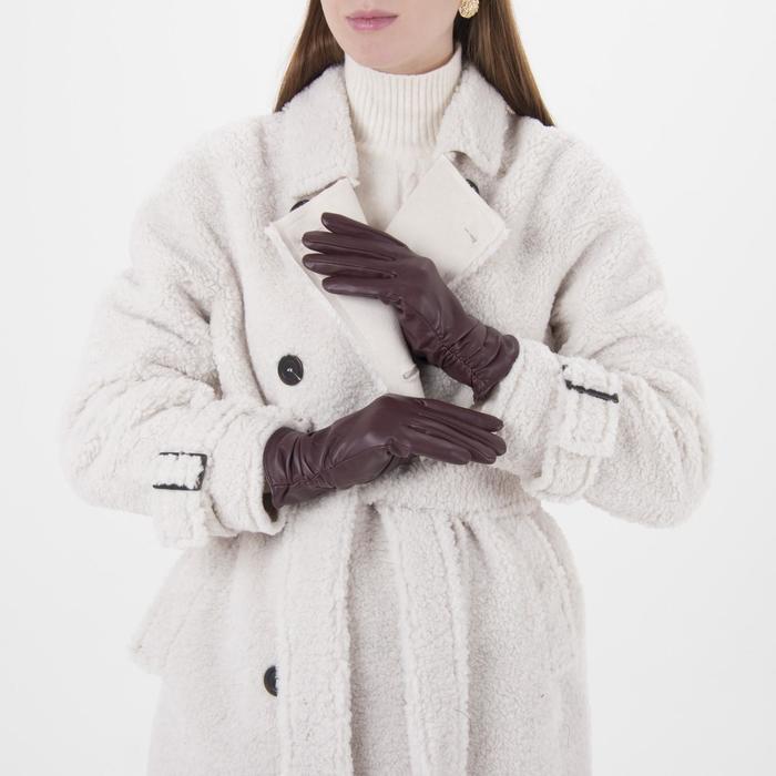 Перчатки женские, размер 6.5, с утеплителем, цвет бордовый