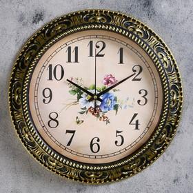 """Часы настенные, серия: Цветы, """"Изящный букет"""" d=30 см,  дискретный ход, рисунок микс"""