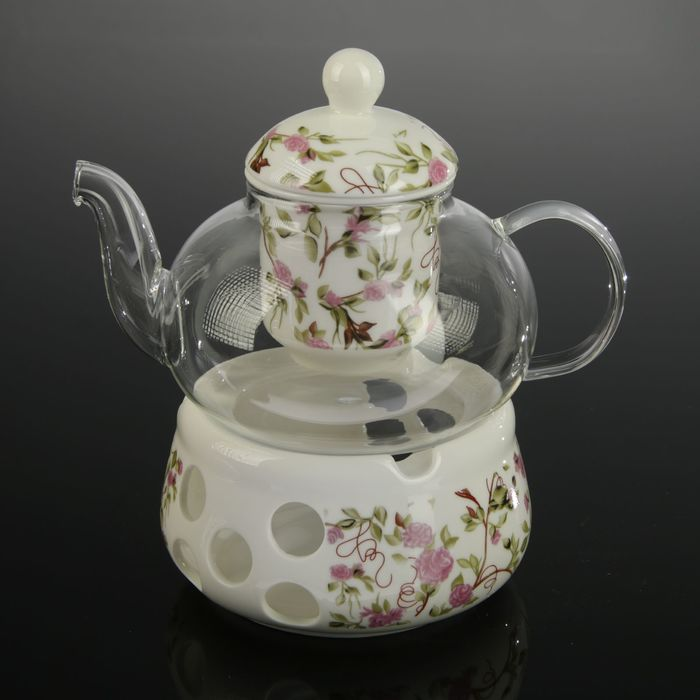"""Чайник заварочный 800 мл """"Скарлет"""", с керамическим ситом и подставкой для подогрева"""