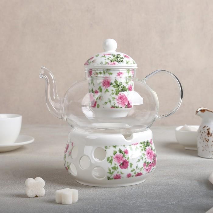 """Чайник заварочный 800 мл """"Букет"""", с керамическим ситом и подставкой для подогрева"""