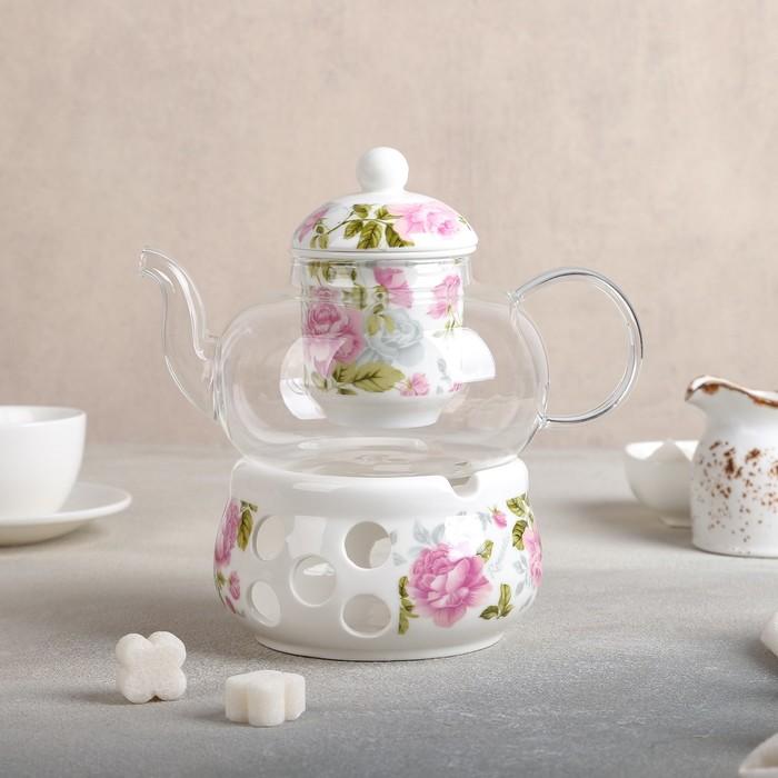 """Чайник заварочный 800 мл """"Весна"""", с керамическим ситом и подставкой для подогрева"""