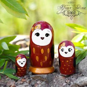 """3 doll matryoshka """"Owl"""" 11 cm"""