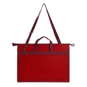 Папка А3, с ручками, пластиковая, молния сверху, 420 х 343 х 50 мм, «Оникс», ПР 5, плечевой ремень, цвет бордовый