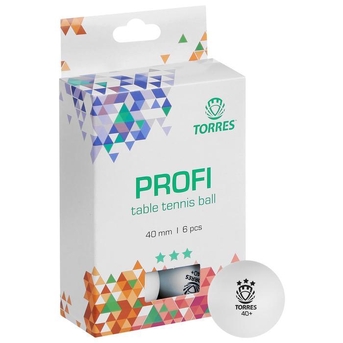 Мяч для настольного тенниса Torres Profi, 3 звезды,40 мм, набор 6 шт., цвет белый