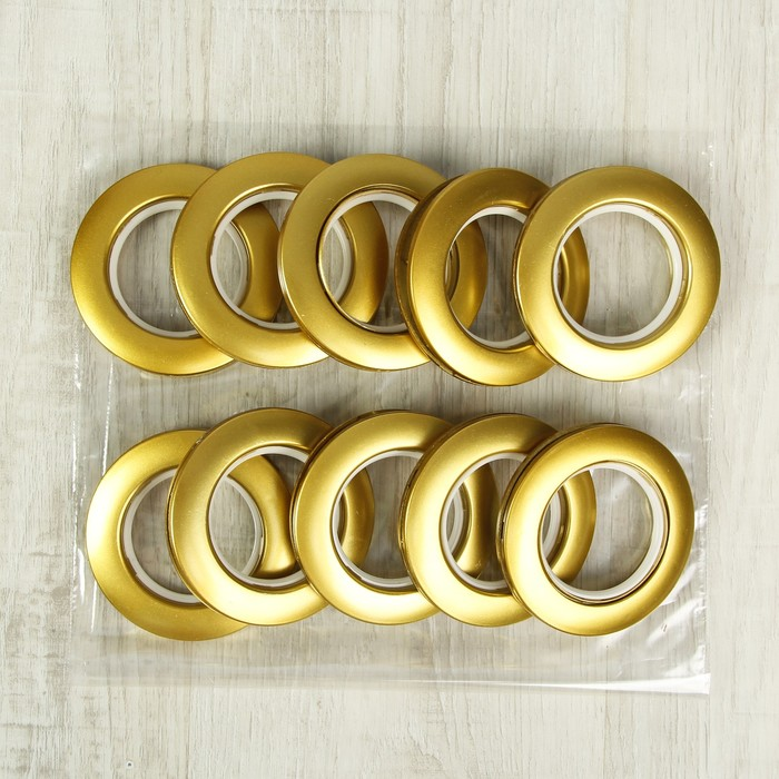 Люверсы для штор, d = 4,1/7,5 см, 10 шт, цвет золотой