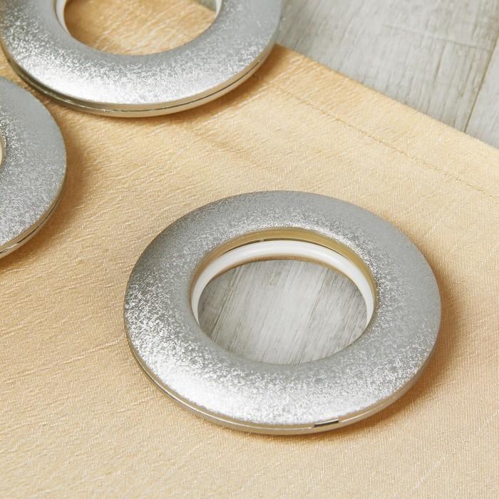 Люверсы для штор, d = 4,2/8,5 см, 10 шт, цвет серебряный матовый