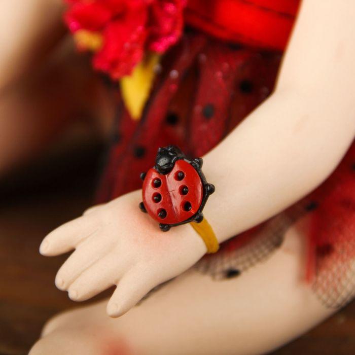 """Кукла коллекционная керамика """"Малышка Божья коровка"""" 24 см"""