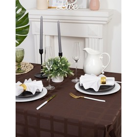 """Tablecloth """"Ethel"""" Geometry 150*200, Col. chocolate, PL 192 g/m2 CL with GMOs"""