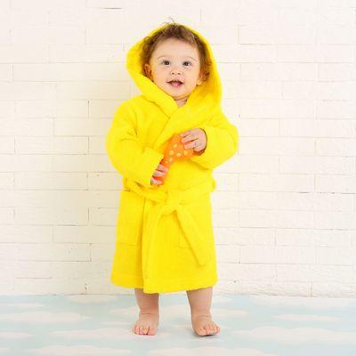 Халат махровый детский, размер 32, цвет жёлтый, 340 г/м2 хл.100% с AIRO