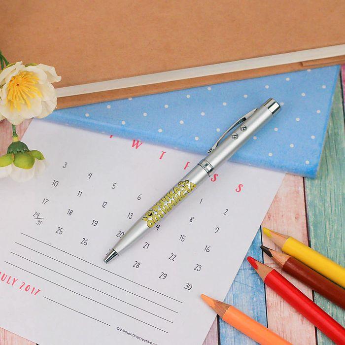 "Ручка, лазер в коробке ""Ручка оптимиста"" + фонарик"